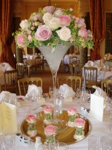 Martini Glasses Tall Lily Vases Conical Trumpet Bubble Bowls Around Our Large Candelabras Or Made As Stand Alone Arrangements